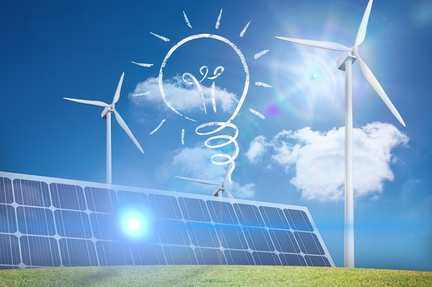 Лампа накаливания, панели солнечных батарей и эоловый вентилятор