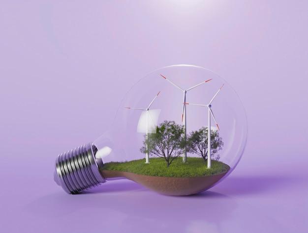 Lampadina con progetto di mulino a vento 3d per il risparmio energetico