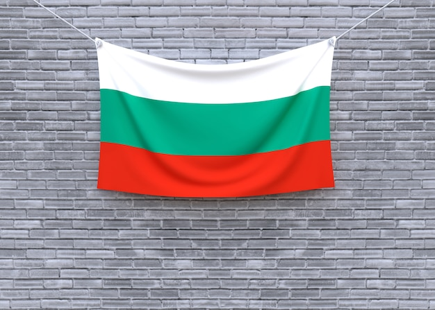 Bulgaria flag hanging on brick wall