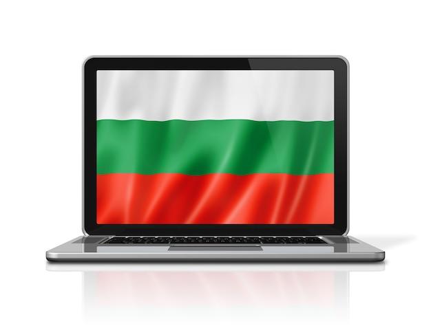 Bulgaria flag on laptop screen isolated on white. 3d illustration render.