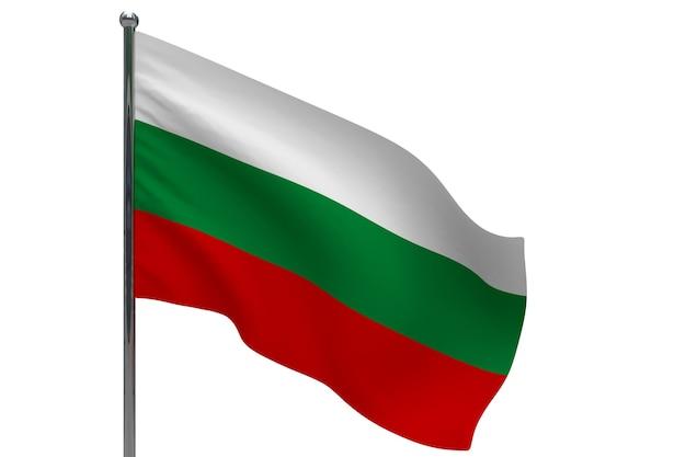 Флаг болгарии на шесте. металлический флагшток. национальный флаг болгарии 3d иллюстрации на белом