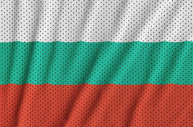 Bulgaria flag printed on a polyester nylon sportswear mesh fabric Premium Photo
