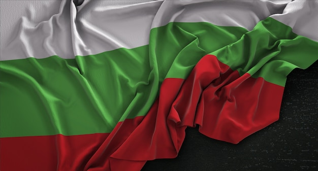 Bulgaria flag wrinkled on dark background 3d render