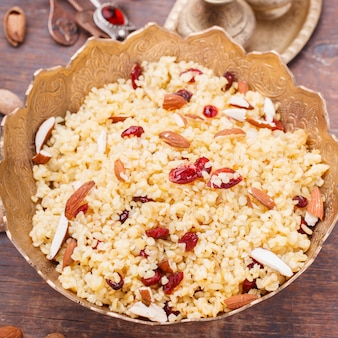 Bulgur with dried cherries and almonds