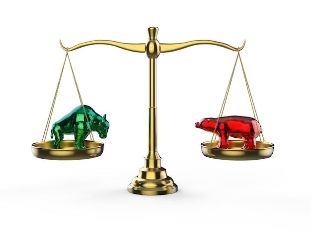규모에 황소와 곰과 함께 황소와 곰 경제 개념