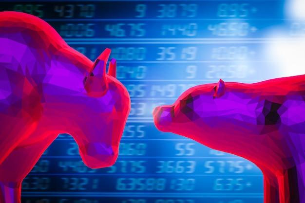 주식 시장 차트 배경에 황소와 곰 경제