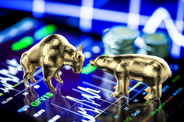 주식 시장 차트의 황소와 곰 경제