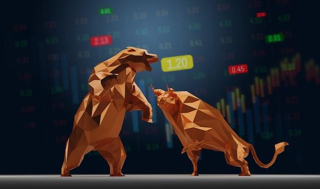 주식 시장 개념 황소와 곰 기호입니다.