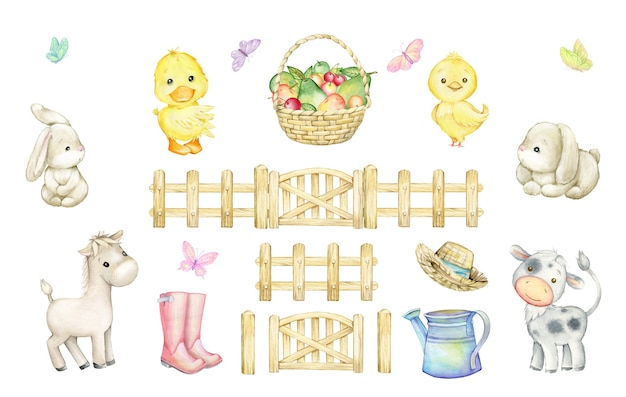 Bull, horse, chicken, duckling, rabbits, butterflies, fruit basket, wooden fence, watering can, boots hat. watercolor set of elements, in cartoon style.