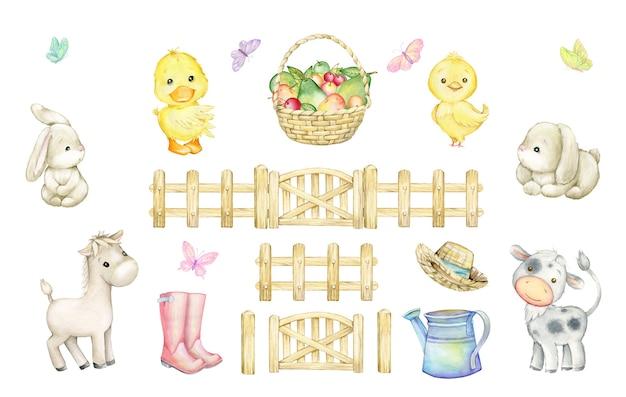 雄牛、馬、鶏肉、アヒルの子、ウサギ、蝶、フルーツバスケット、木製のフェンス、じょうろ、ブーツの帽子。漫画風の要素の水彩セット。
