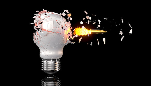 Bullet hits an electric light bulb. 3d render.
