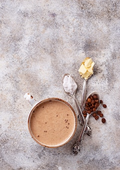 Bulletproof coffee. ketogenic low carb drink