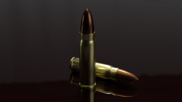 Bullets 3d rendering for  abstract background.
