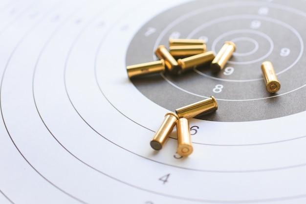 사격 연습을 위해 종이 목표에 총알