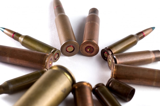 Bullets and shells have been laid out in a circle