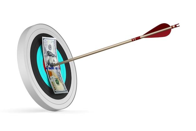 Яблочко с дротиком и долларами на белом фоне. изолированная 3-я иллюстрация
