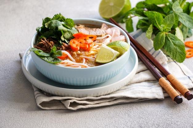 Bun bo hue, bun bo, vietnamese beef noodle soup spicy.