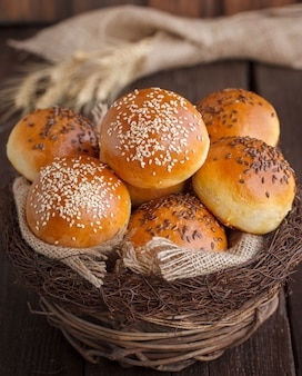 Bun with flax seed and sesame seeds