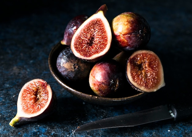 Bunch of autumn figs on plate