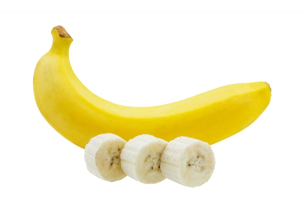 Bunch of bananas slice isolated on white background