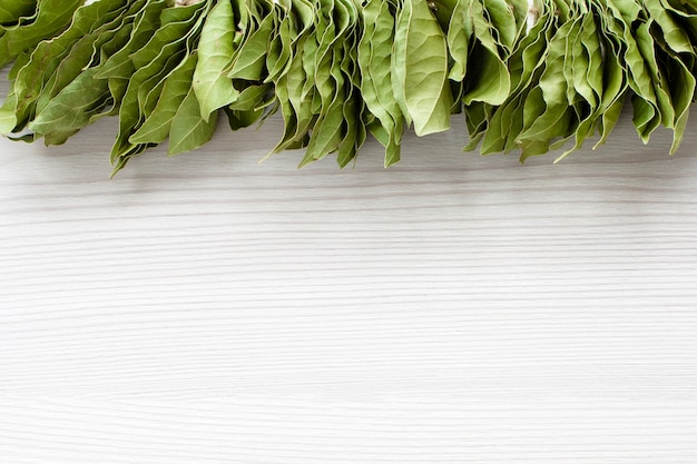 Bunch of bay leaves on white wooden floor. copy space.