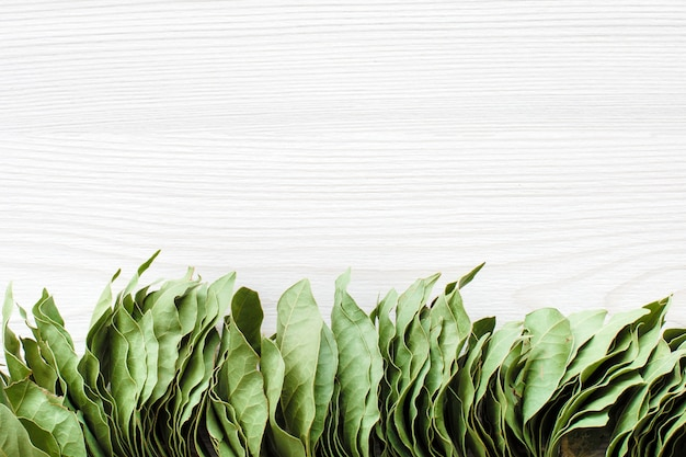 Bunch of bay leaves on white wooden with space for text