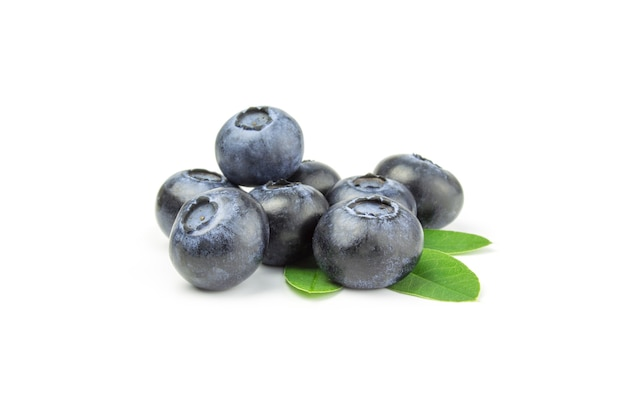 Bunch of blueberry isolated on white cutout.