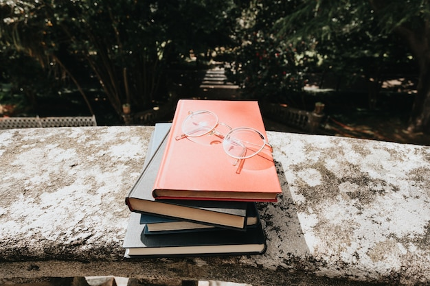 Bunch of books with a pair of glasses over it in a park