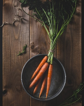 Bunch of carrots in a pot