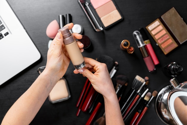 Bunch of cosmetics for beauty vlogger