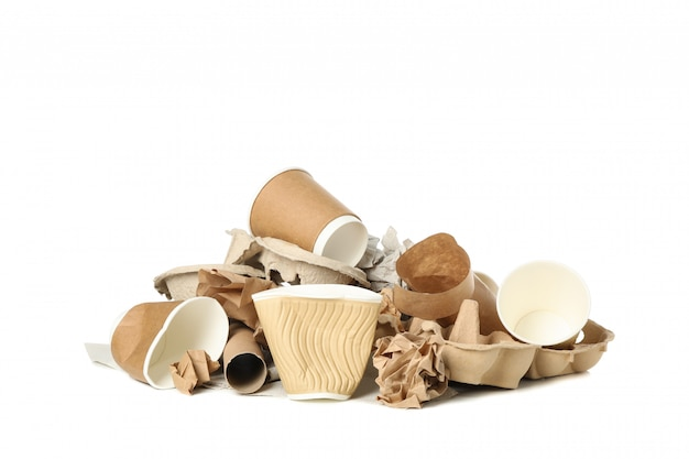Bunch of different trash isolated on white background