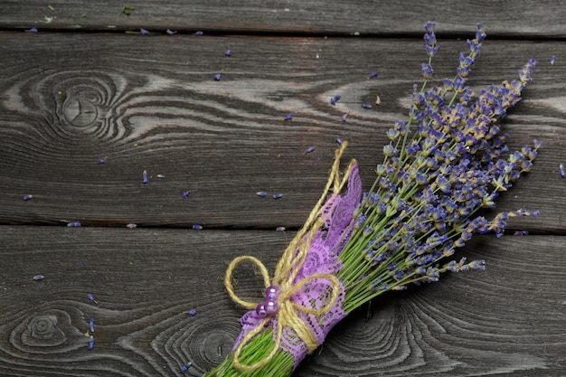 Bunch of dried lavender on wooden