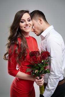 Bunch of flowers for his beautiful woman