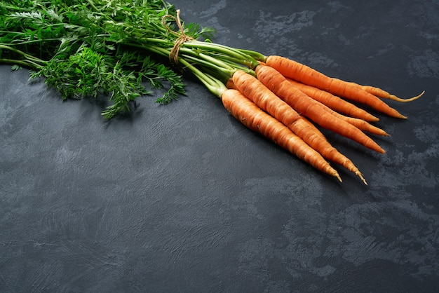 Bunch of fresh carrots on black background, with copy space.
