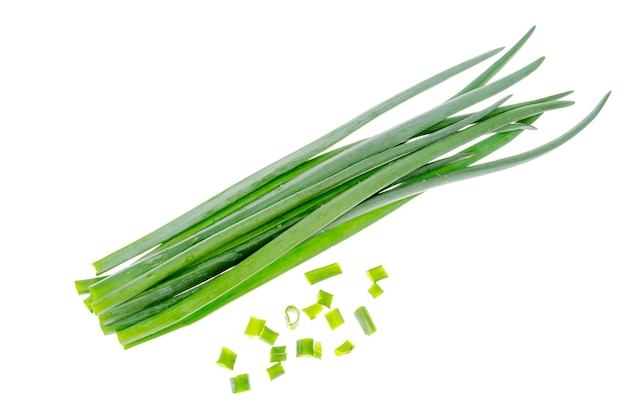 Bunch of fresh chives isolated on white surface