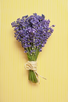 Bunch of fresh lavender on yellow striped backdrop. top view, copy space