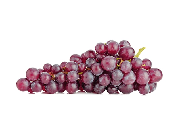 Bunch of fresh ripe red grapes isolated on white background