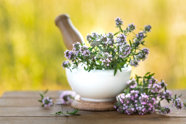Bunch of fresh thyme on a wooden table against the background of nature. copy space