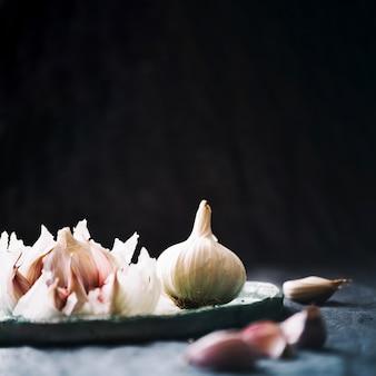 Bunch of garlic on plate