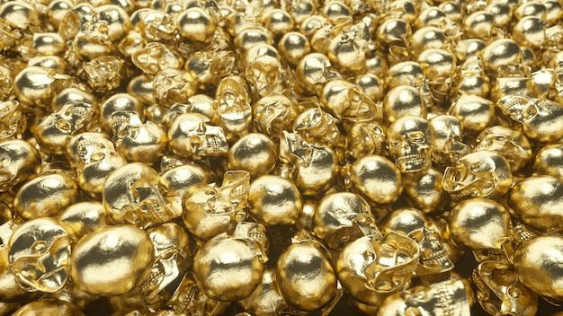A bunch of golden skulls