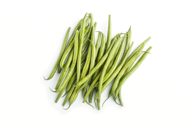 Bunch of green french beans isolated on white background