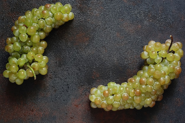 Bunch of green grapes, top view, copyspace