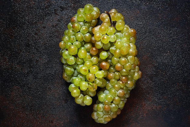 Bunch of green grapes, top view