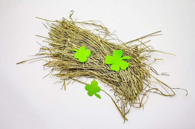 Bunch of hay isolated on white background, felt clover leaves
