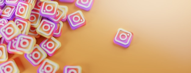 A bunch of instagram logos on orange