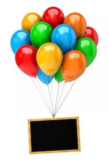 Букет из воздушных шаров держит пустую доску