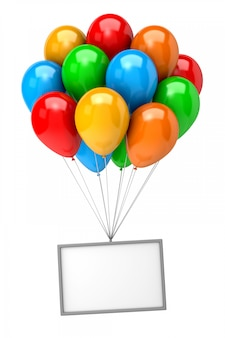 Букет из воздушных шаров с пустым баннером Premium Фотографии