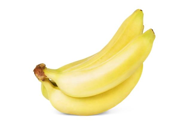 흰색 배경에 고립 된 바나나의 무리