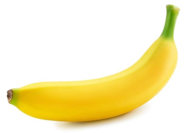 Связка бананов, изолированные на белой поверхности. путь отсечения спелых бананов. качественная макросъемка для вашего проекта.
