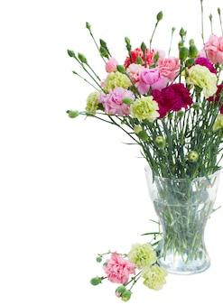 白いスペースで隔離のガラスの花瓶のカーネーションの花の束